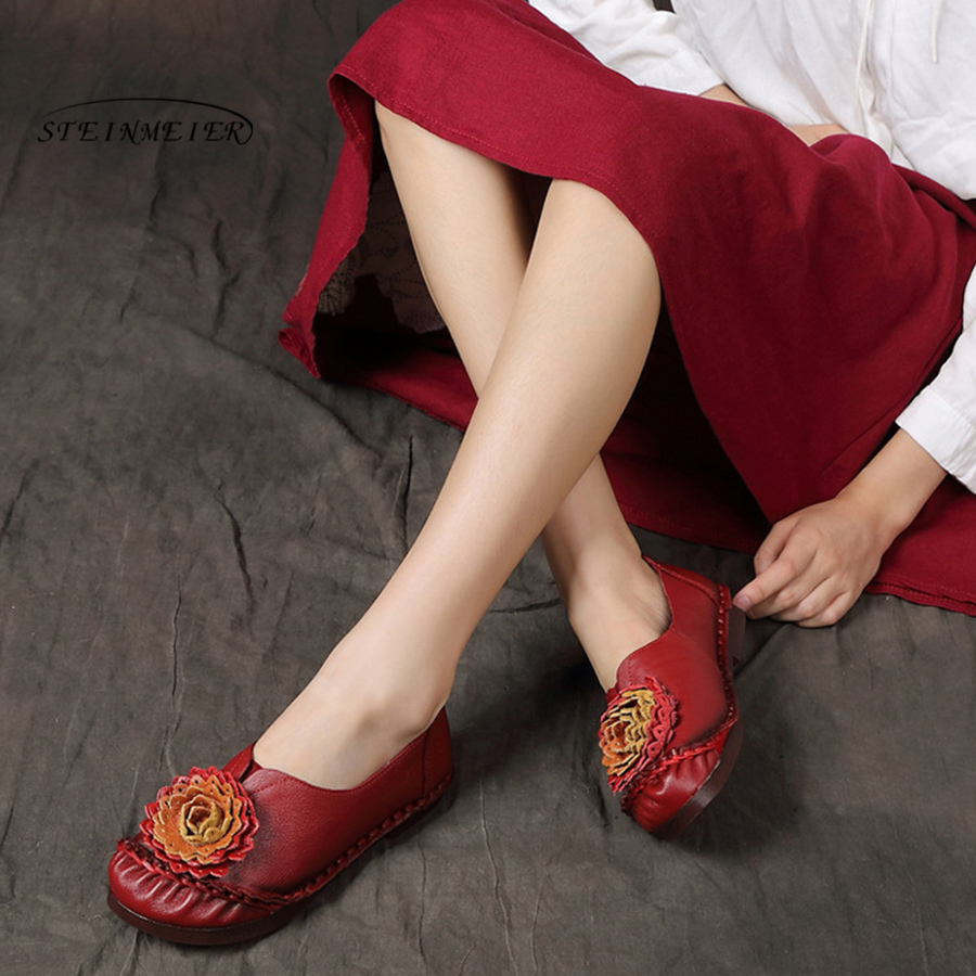 Steinmeier 2018 Autumn women flats genuine leather shoes slip on ballet flats women flower woman shoes moccasins loafers shoes 2018 autumn new vintage casual handmade shoes woman flats genuine leather fashion women shoes slip on women s loafers moccasins