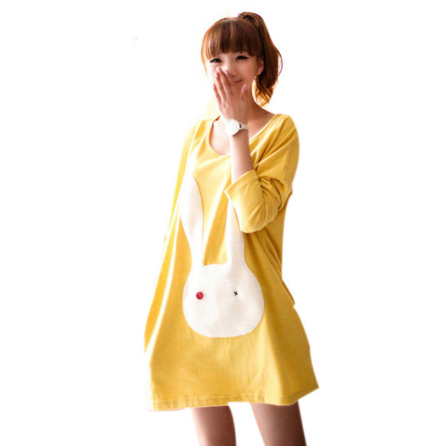 Long t-shirt maternity dress cotton fashion for young pregnant women