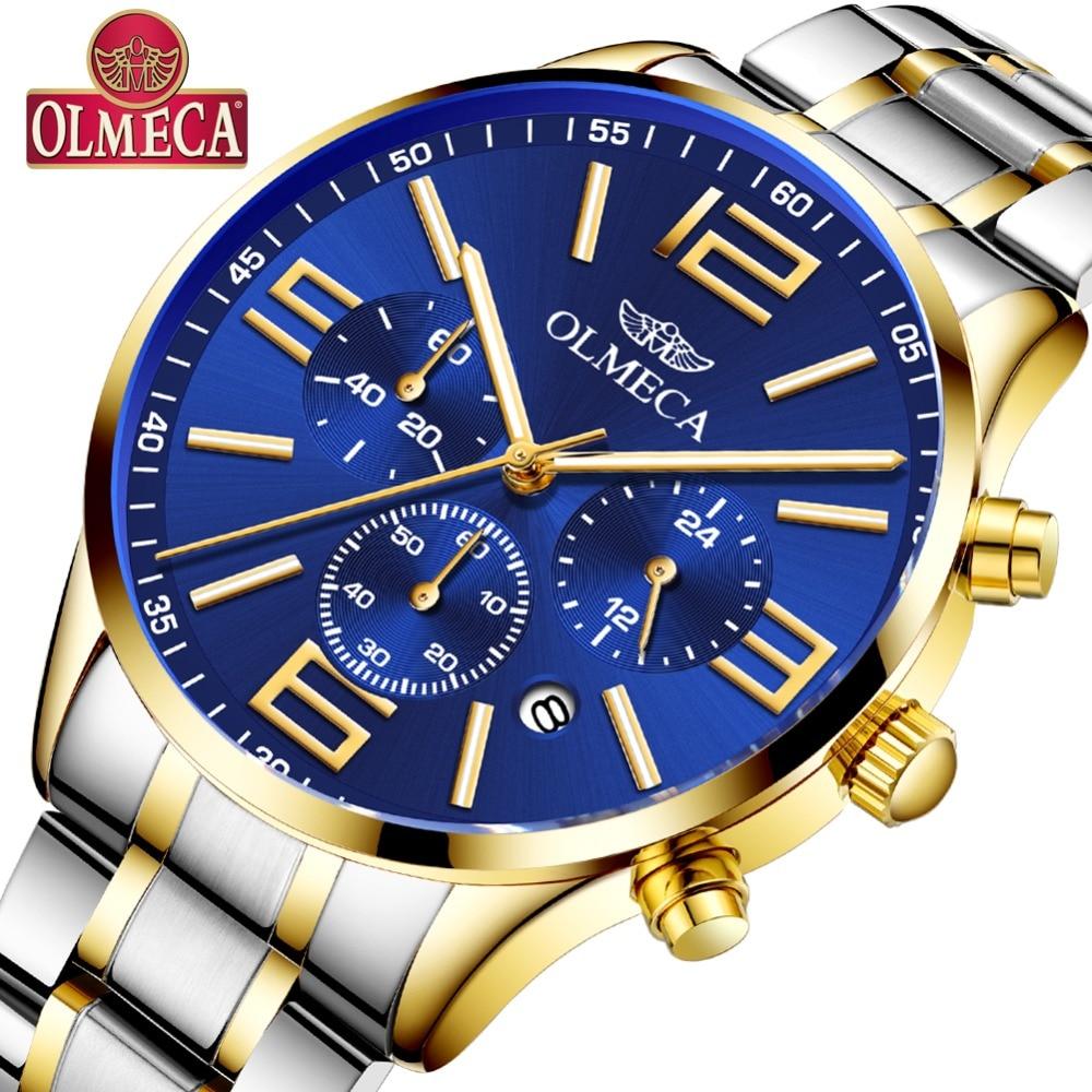 OLMECA Men's Watch Luxury Fashion Big Dial Stainless Steel Wrist Watches Military Quartz Watch for Men Saat Relogio Masculino