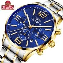 OLMECA Men's Watch Luxury Fashion Big Dial Stainless Steel Wrist Watches Military Quartz Watch for Men Saat Relogio Masculino недорого