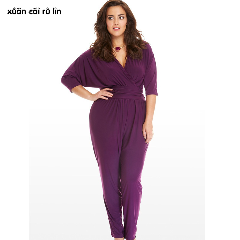 plus size 3xl 2017 Batwing Sleeve loose tunic jumpsuit sexy work Office macacao purple black long pants Casual elegant overalls