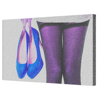 Fashion Canvas Wall Art Print Sexy Lady Holding Purple High Heels Picture Photo Frame Painting Shoes