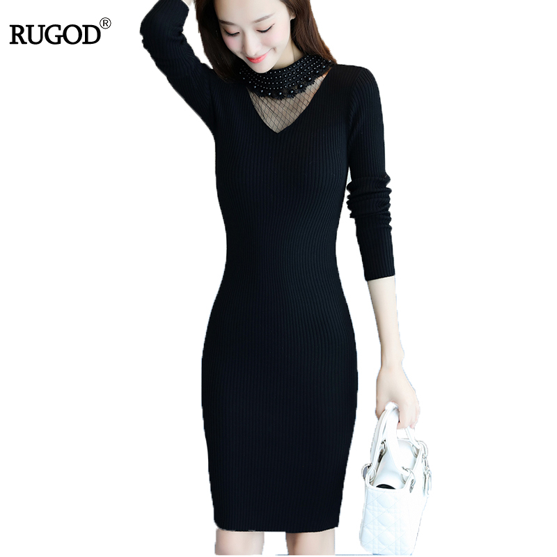 RUGOD 2018 New Fashion Winter Dress V neck Long Sleeve Solid Sexy Dress Lace Knee Length