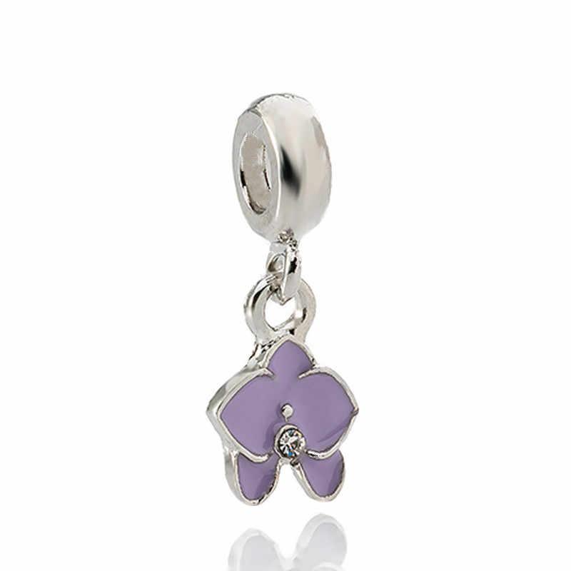 2019 nowy biżuteria srebrny wisiorek pływające paciorek Charms europejskiej orchidea koraliki Fit Diy bransoletka typu charm Pandora naszyjnik biżuteria