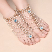 Boho Vintage Multilayer Imitation Pearl Anklet for Women Tassel Rhinestone Foot Jewelry Barefoot Sandal Crystal Beach Wedding