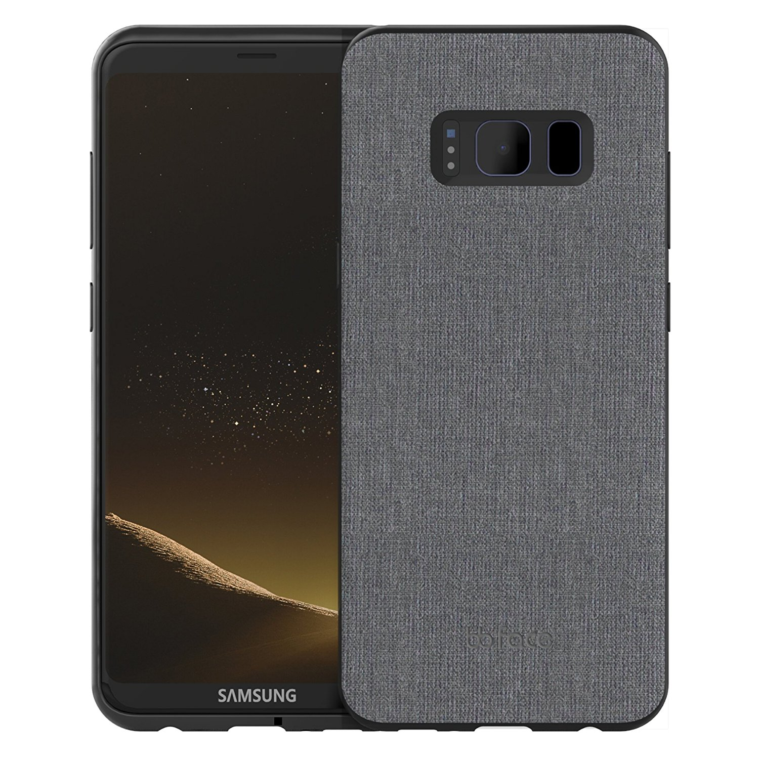 bb face Shockproof Hard PC+ TPU Bumper Case Scratch-Resistant Cover Fabric Case for Samsung Galaxy S8(5.8 inch)