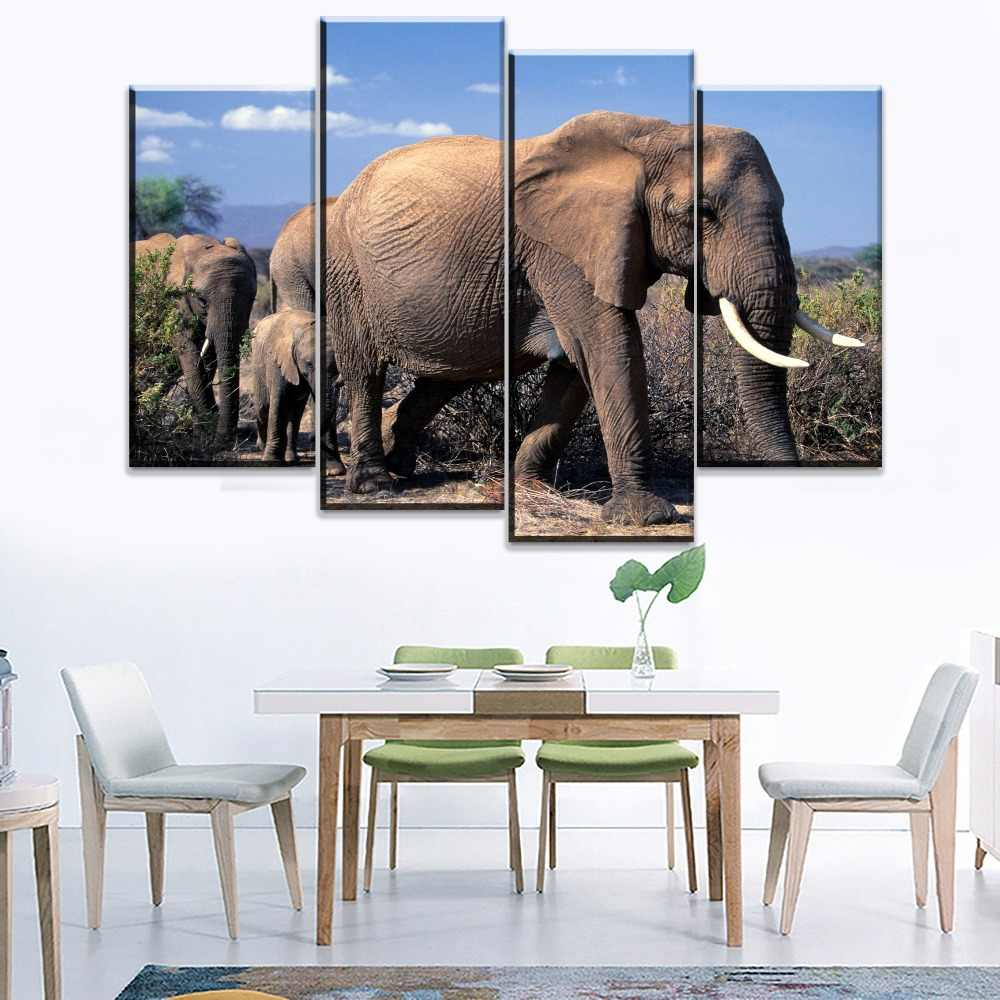 Home Decorative One Set Modular 4 Piece African Animal Elephant Poster Wall Art Bedroom Or Living Room Canvas HD Printing Type