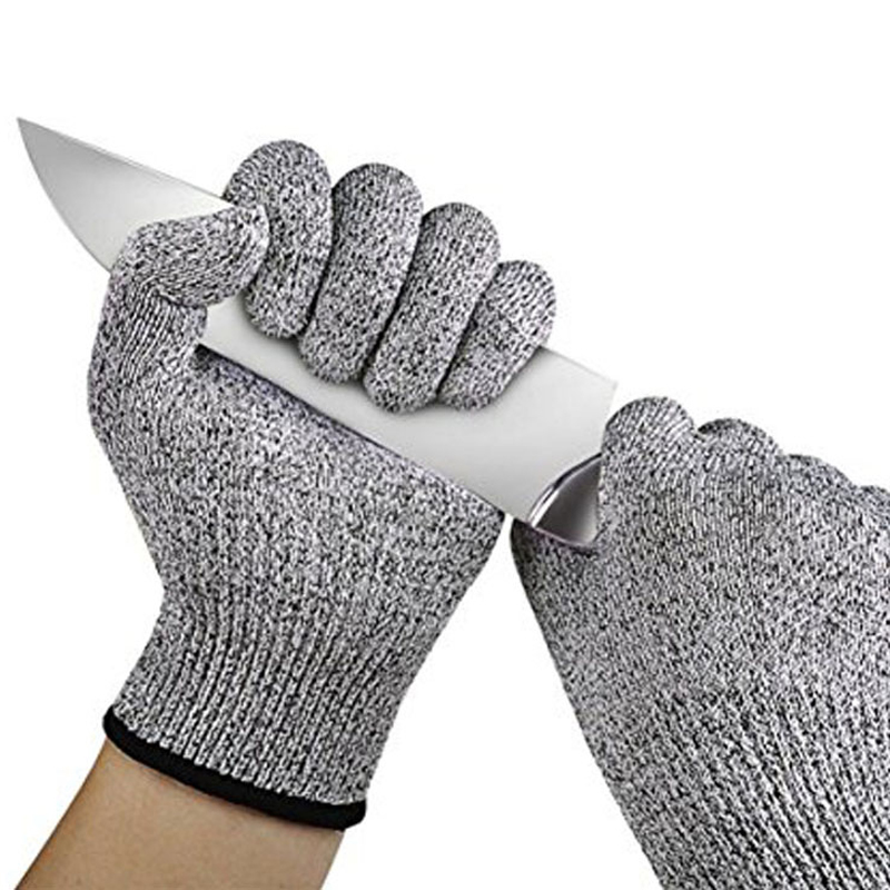 LongKeeper 1/Pair Grey Working Safety Gloves Cut-Resistant Protective Stainless Steel Wire Kitchen Butcher Anti-Cutting Gloves