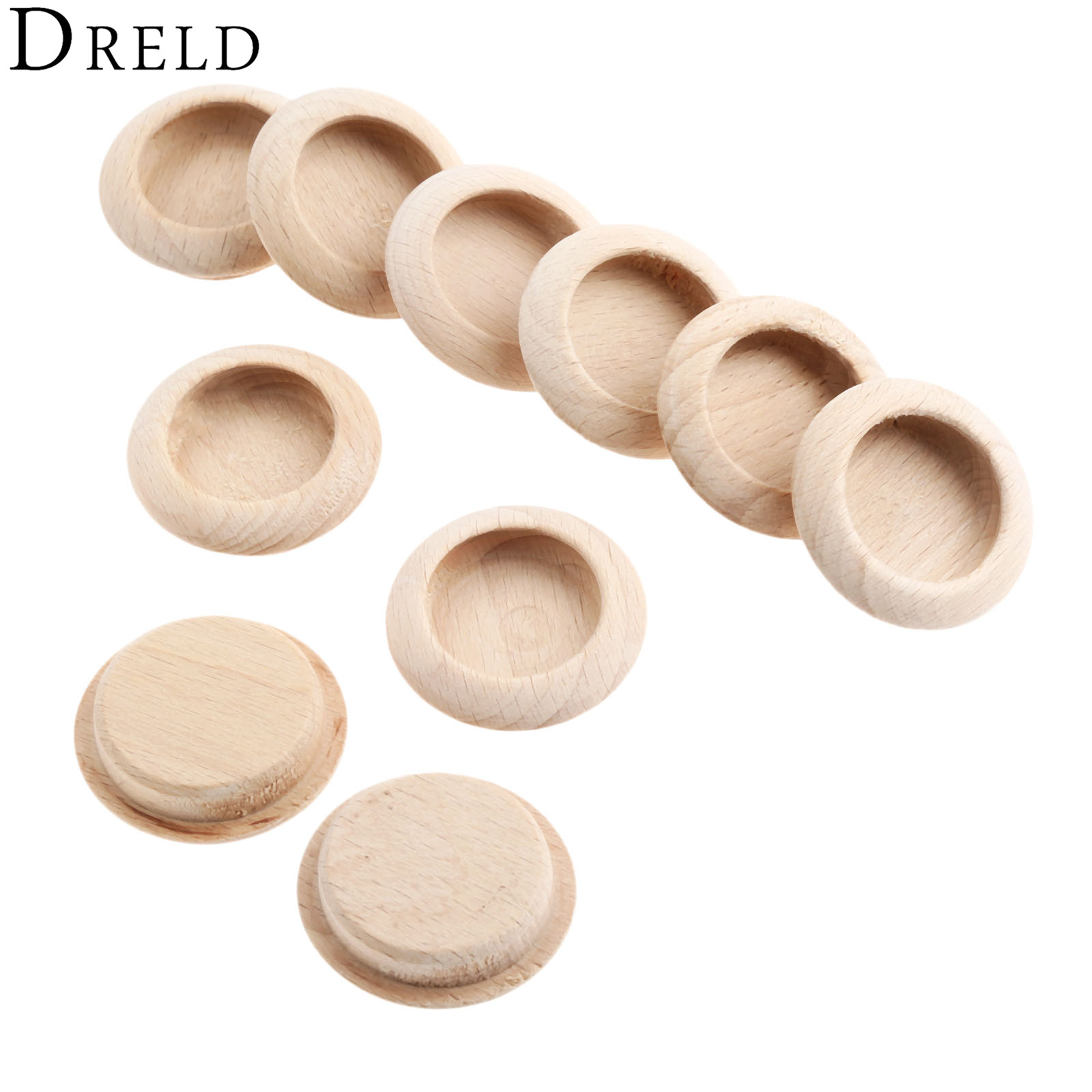 DRELD 10Pcs Wooden Concealed Furniture Handles Kitchen Cabinet Drawer Knobs Cupboard Closet Door Wood Pulls Furniture Hardware chic sunflower pewter kitchen cabinet knobs drawer dresser pulls handles cupboard closet door knob modern furniture hardware