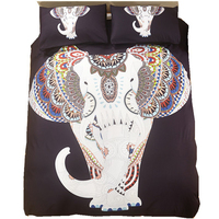 Home Textile Elephant Printed 3pcs Bedding Sets Bohemian Duvet Cover Set Double Queen King Bedclothes Bed Black