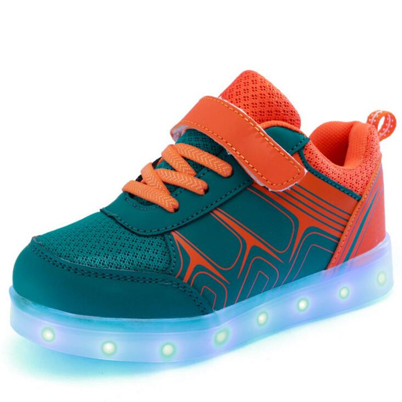 2016 New Fashion Kids Sneakers LED Luminous USB Charging Child Breathable Boys Casual Girls Flat Shoes