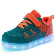 2016 Новая Мода Дети Кроссовки СВЕТОДИОДНЫЕ Светящиеся USB Зарядки Ребенок Дышащие Мальчики Повседневная Девушки Плоские Shoes с огнями Размер 25 ~ 37
