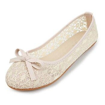 Zapatos mujeres pisos 2018 nuevo verano Mujer Ballet Zapatos planos damas de deslizamiento en Nudo de mariposa Zapatos con punta cerrada Zapatos Mujer