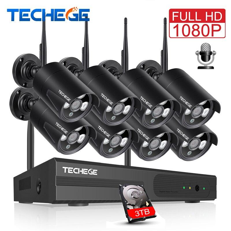 Techege 2MP 8CH 1080 p NVR WI-FI Áudio CCTV Sistema de Câmera Kit de Câmera de Segurança de Vigilância IP Sem Fio Da Câmera de Vídeo À Prova D' Água
