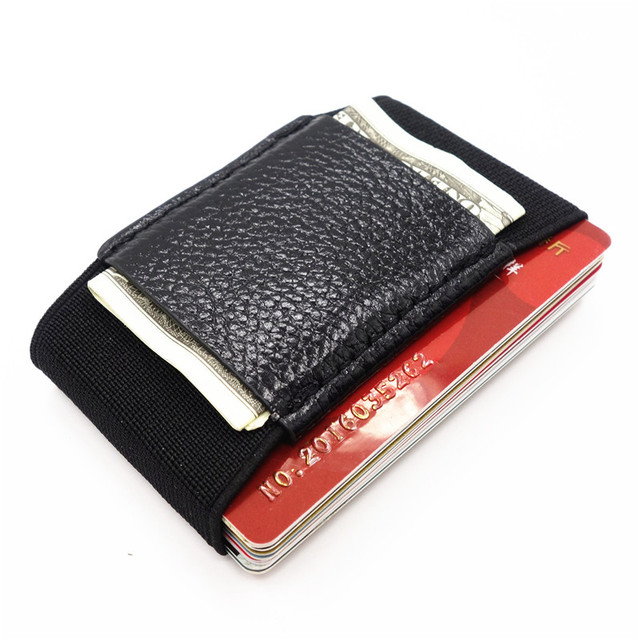Men Slim Leather Wallet With Elastic Front Pocket Card Holders And Cash Business Holder Purse