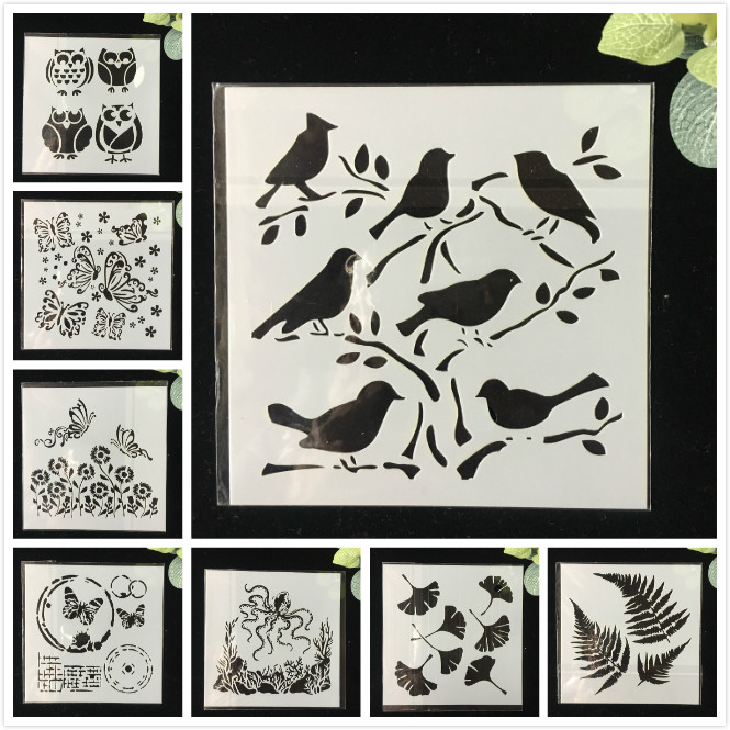 8Pcs/Pack 13cm Owl Bird DIY  Layering Stencils Wall Painting Scrapbook Coloring Embossing Album Decorative Template