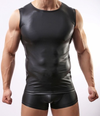 2016 Hombres Chaleco Atractivo de Cuero de Imitación Solid Color Negro Hombres Tank Tops Ropa Interior Desgaste Delgado