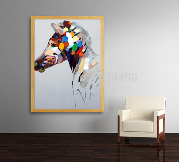 Hand Painted Abstract Animal Paintings For Room Decor Horse Oil Painting On Canvas Hang Pictures On The Wall Craft 60x90cm