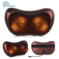 GPYOJA Home Car Dual Use Massage Pillow Electric Infrared Heating Kneading Cervical Neck Shoulder Back Body