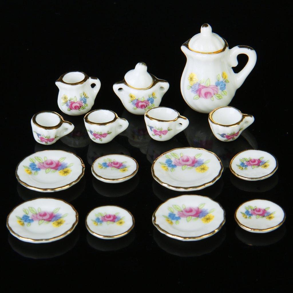Campcookingsupplies Lgfm-15 Piece Miniature Dollhouse Dinnerware Porcelain Tea Set Tableware Mug Plate With Floral Pattern