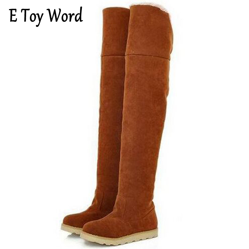 E TOY WORD Winter Non-Slip Models Snow Boots Women Over the Knee Shoes Female Tube Long Boots Feminino Zapatos Mujer Size 35-40 e toy word canvas shoes women han edition 2017 spring cowboy increased thick soles casual shoes female side zip jeans blue 35 40