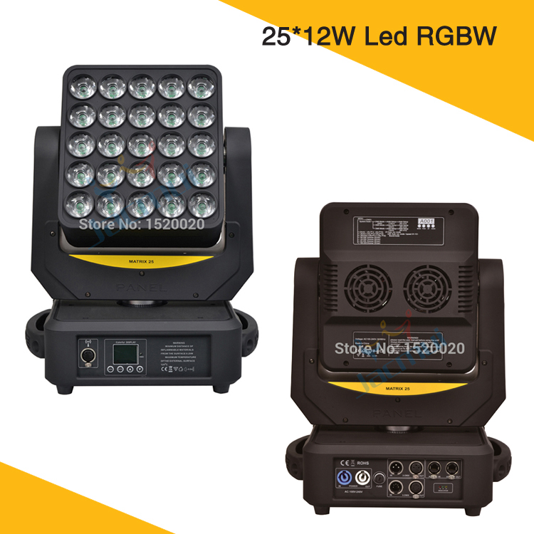 US $1230 0 |2Pcs/Lot 5x5 Matrix Led 25*12w 4in1 RGBW Moving Head Light  Artnet And Wireless Wash Effect Disco Mobile Light-in Stage Lighting Effect
