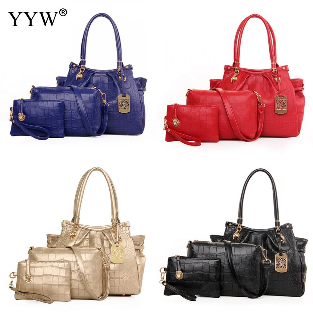 3pcs/set women handbag shoulder corssbody bag tote bag messenger bags wallet big capacity fashion travel Envelope bag female kuluosidi 3 pcs set women tote bag high