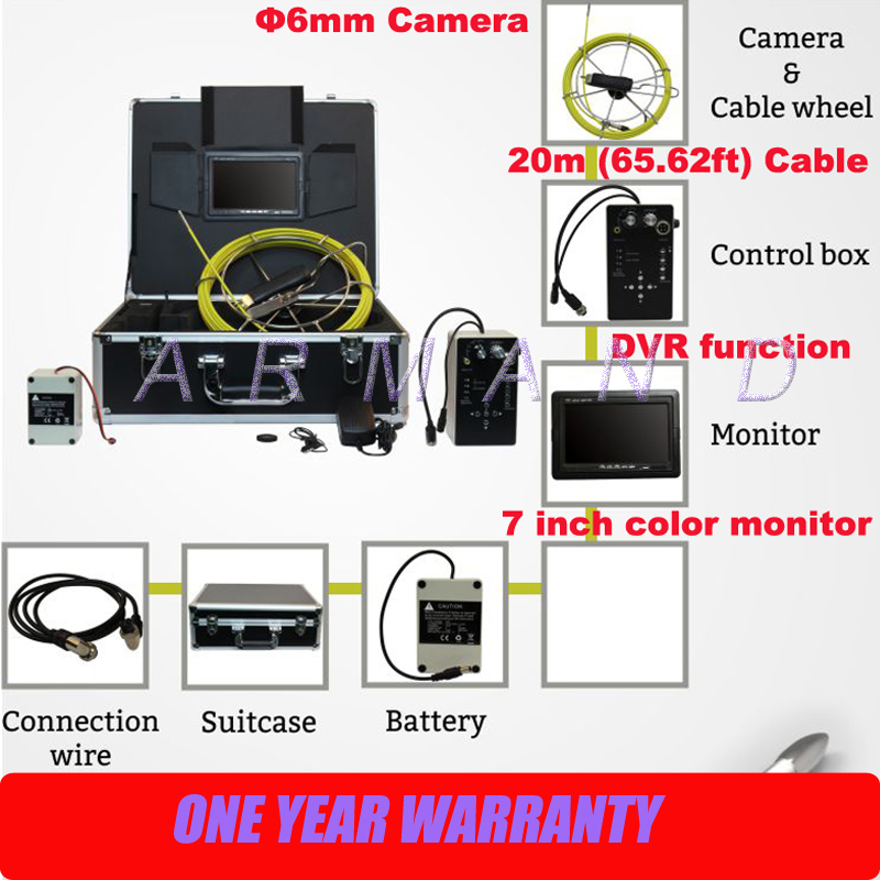 Small Duct Inspection Camera in Pipe Inspection Camera System Industrial Endoscope with DVR 8GB SD card 710D5 image