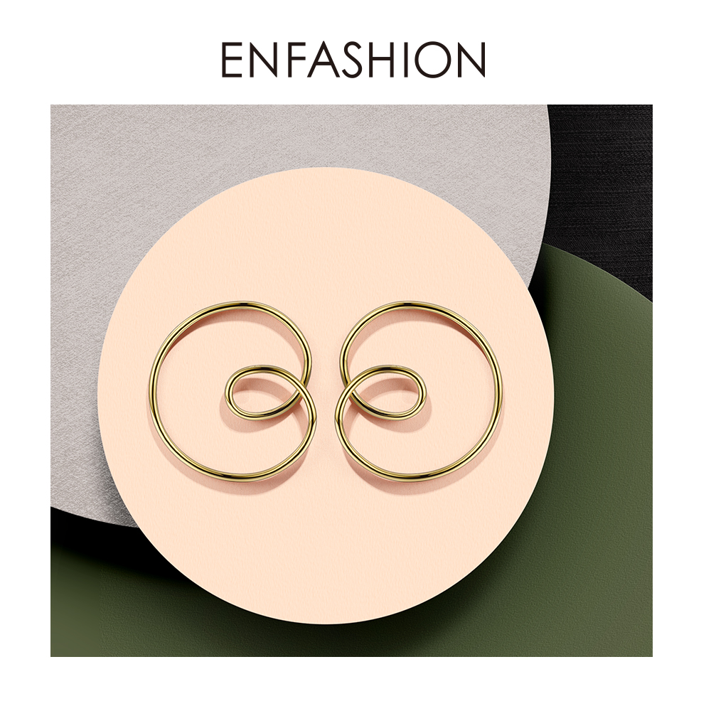 Image 3 - ENFASHION Wave Curve Drop Earrings For Women Gold Color Big Statement Accessories Loop Earings Fashion Jewelry Oorbellen EC1027Drop Earrings   -
