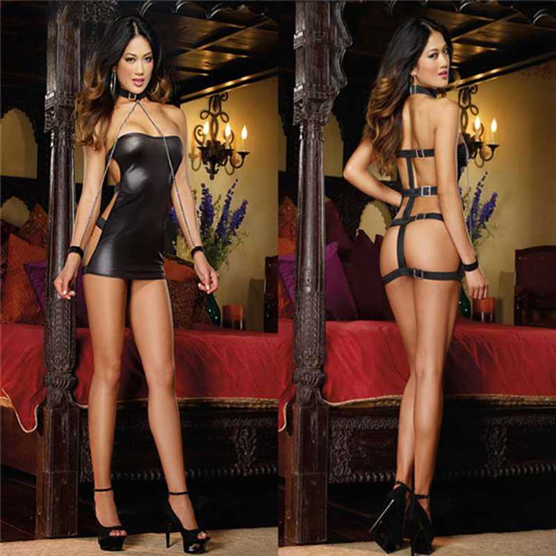 <font><b>Women</b></font> <font><b>Sexy</b></font> PVC Erotic Leotard Costumes Black Wet Look Micro <font><b>Mini</b></font> Catsuit Fetish Clubwear Party <font><b>Faux</b></font> <font><b>Leather</b></font> <font><b>Dress</b></font> Latex Bodycon image