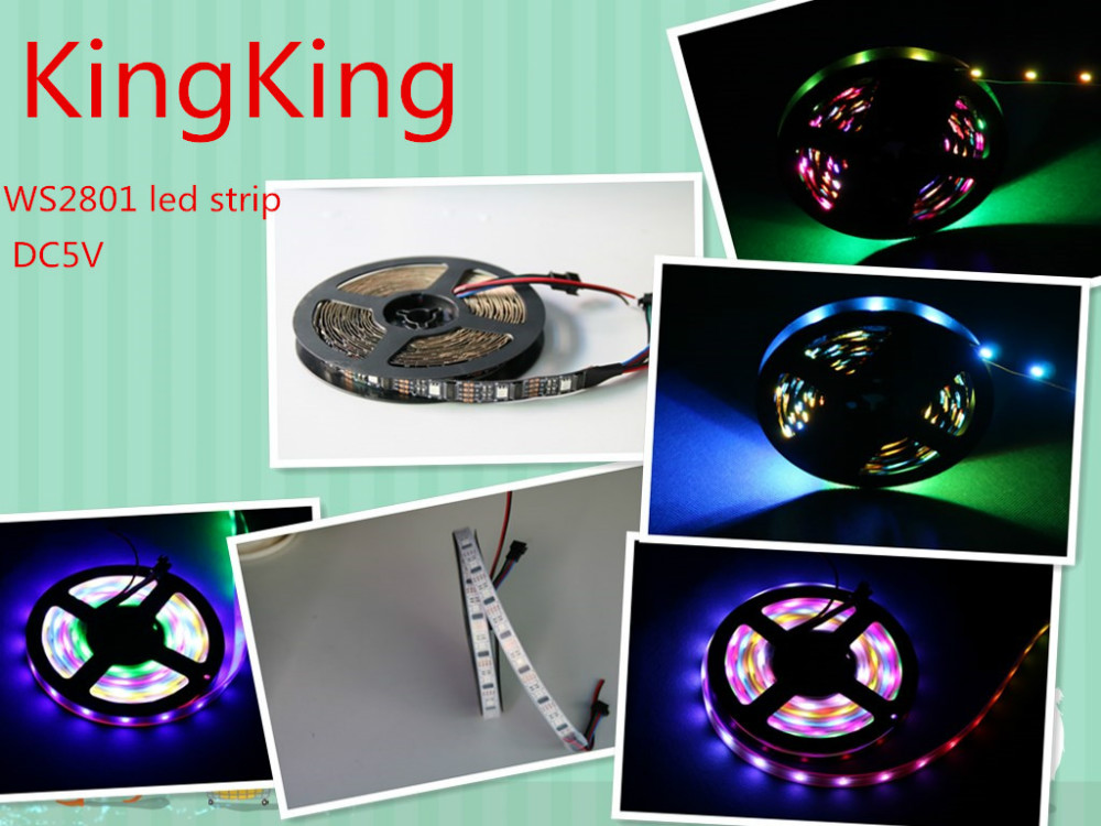 5M WS2801 5050 RGB Dream Color LED Strip Adresserbar DC5V ws2801 ic 32 pixel / m sort / hvid pcb