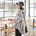 azouari XL-5XL plus size women clothing 2017 spring and summer new white striped long sleeve bat sleeves shirt