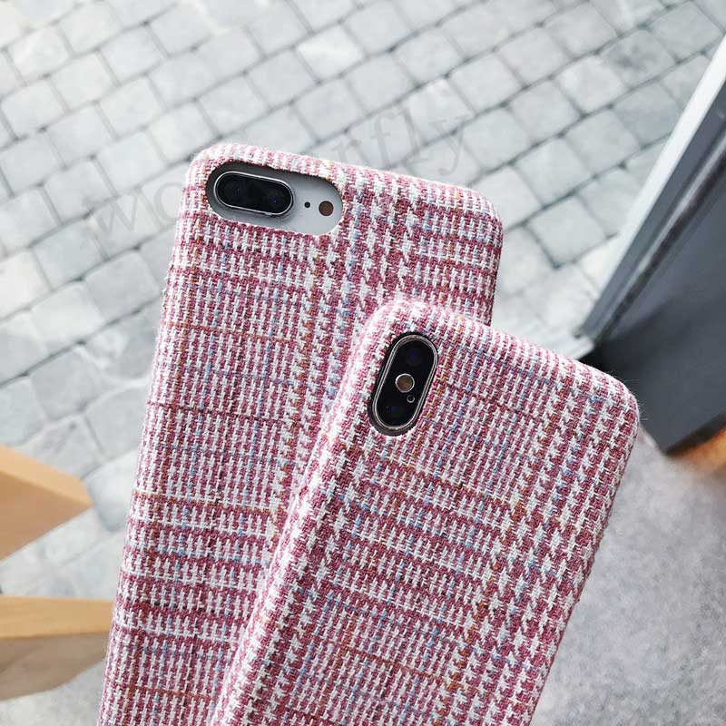 e9877aa0dda1 Cloth Grid Plaid Phone Case For IPhone X XR XS Max Cute Lattice Soft C