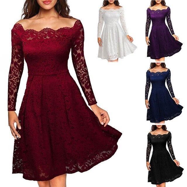 Fashion Spring Autumn Women Sexy Dress Solid Color Off Shoulder Slim  Elegent Ladies Wedding Party Lace Dresses FS99 1208acb634c1