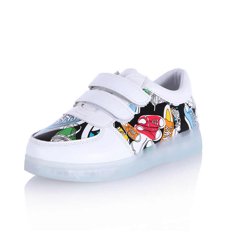 7ipupas ใหม่เด็กรองเท้าส่องสว่าง USB ชาร์จเด็กผู้ชาย & เด็กหญิงรูปแบบผ้าใบรองเท้า led 7 สีกลางแจ้งเรืองแสงรองเท้าผ้าใบ
