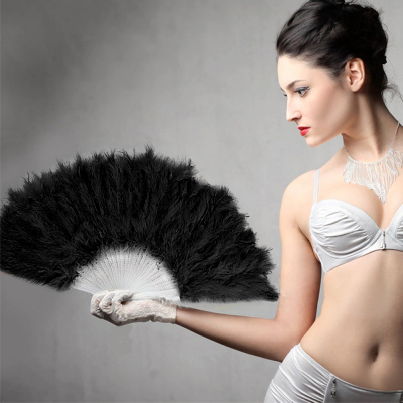Newest Nice Feather Fan For Dance Props Hand Goose Feather Folding Fan Wedding Levert Home Decor Dropship