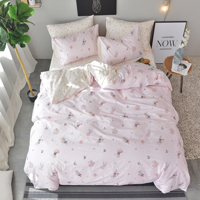 100% Cotton Pink Duvet Cover With Zipper Closure Fox Pattern Bed Sheets  Soft Pillowcase Bedding Set Queen Twin Full King Size