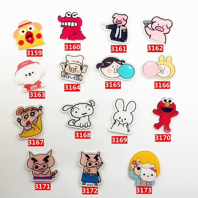 15 PCS Cartoon Pig Dog Dinosaur Plastic Brooch Pin Brooch Ladies Lover Collar Backpack Lapels Needle Animal Badge Jewelry