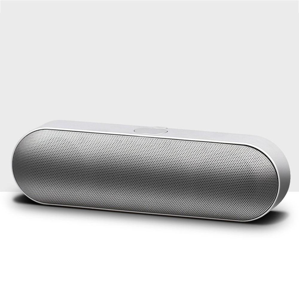 Stereo Surround Sound Bluetooth Speaker, Capsule shape, 5W horn button control home theater Party music amplifier, Golden Sliver