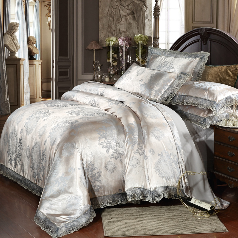 100 Cotton Luxury Embroidery Tencel Satin Silk Jacquard Bedding Sets Bed Sheet Queen King size 4pcs