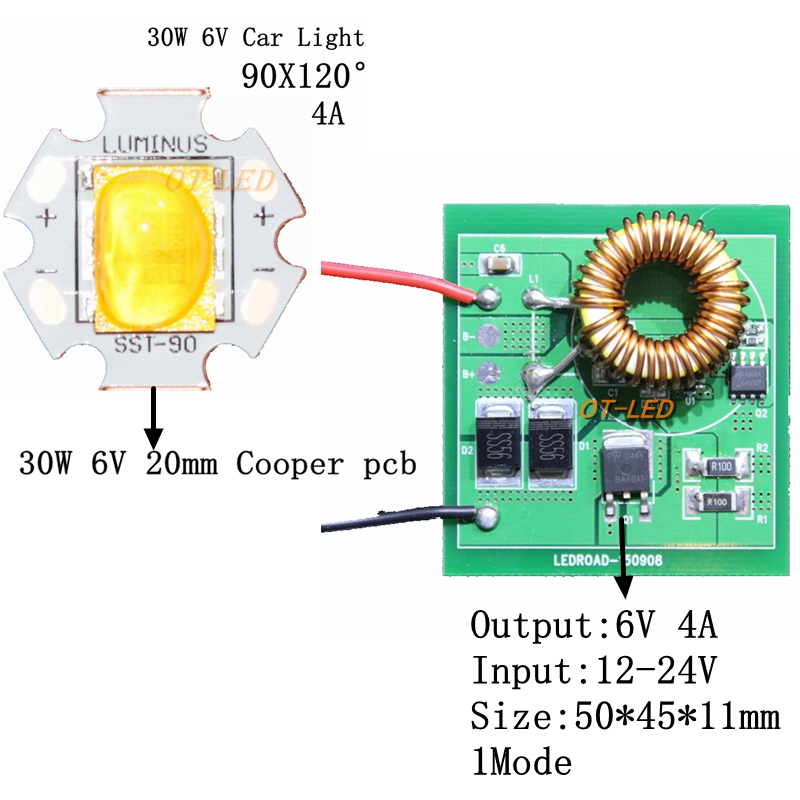 NEW 1SET 30W Cree Xlamp 6V Car Light LED Chip Emitter instead of SST-90 XHP70 LED Neutral White 4500-5000K +4A 26mm Driver цена