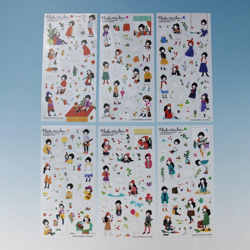 Купить с кэшбэком 6PCS Sweet Girl Sticky Notes DIY Creative Stationery Transparent PVC Decorative Scrapbooking Notebook Label for Child Gift