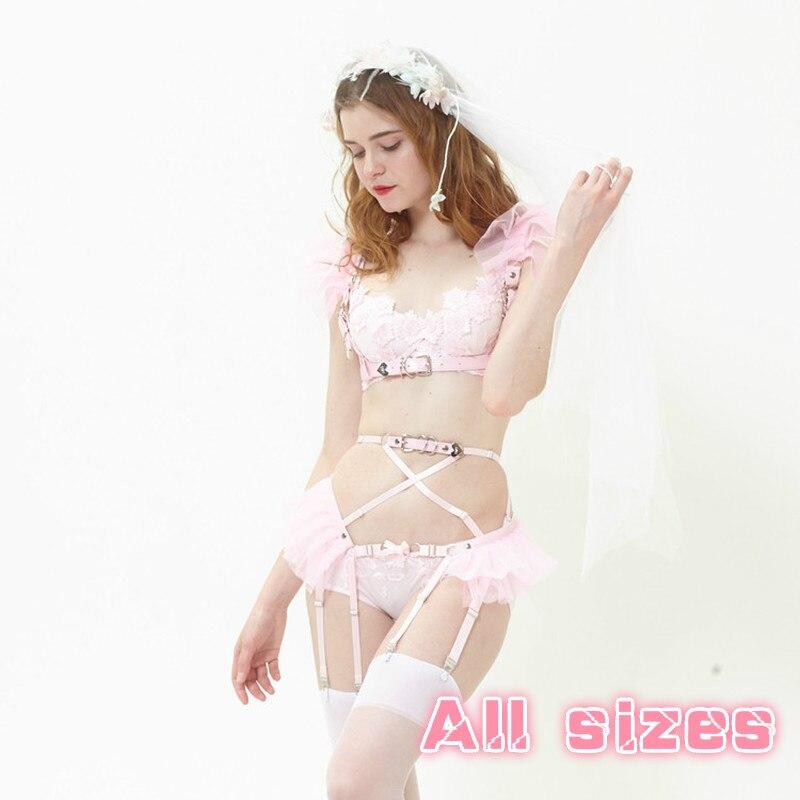 Cosplay Lolita Kawaii Handmade Sexy Harajuku Leather Elastic Garter Belts Chiffon Mesh Waist Garters Harness for Dress Costume