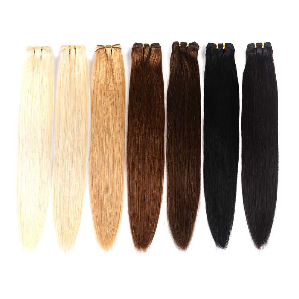 """Doreen 100% paquetes de cabello humano cabello lacio brasileño tejido a máquina de trama cabello Remy cabello rubio paquetes 10 """"a 26"""""""