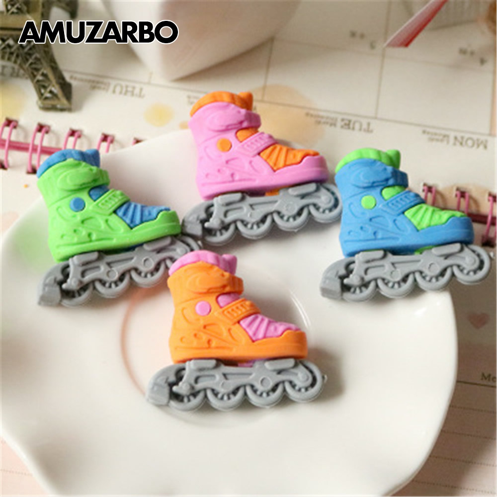 1 Pcs Lovely Roller Skates Modelling Eraser Kawaii Stationery School Office Correction Supplies Child's Toy Gifts