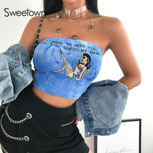 d7983bab01 Sweetown Strapless Cute Sexy Boob Tube Top Women 2019 New Cartoon Embroidery  Summer Crop Top Blue