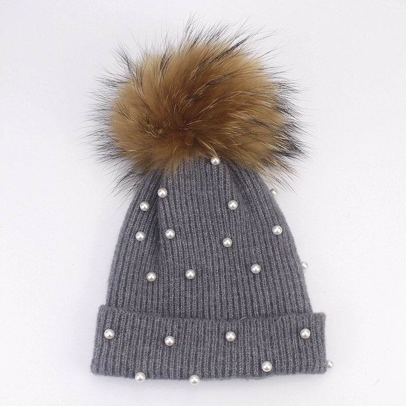 ... Wool Beanies Women Real Natural Fox Fur Pom Poms Fashion Pearl Knitted Hat  Girls Female Beanie ... 047f8204811f