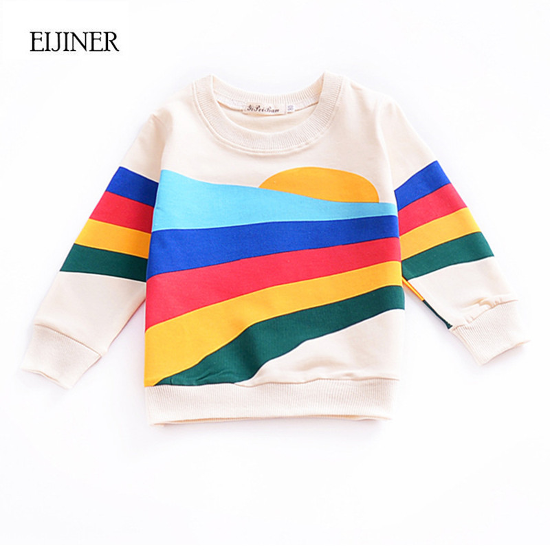 Rainbow Long Sleeve Girls tshirts 2018 Spring Cotton Children Shirts Kids Tops Tees Toddlers Baby t shirts Casual Baby Clothes
