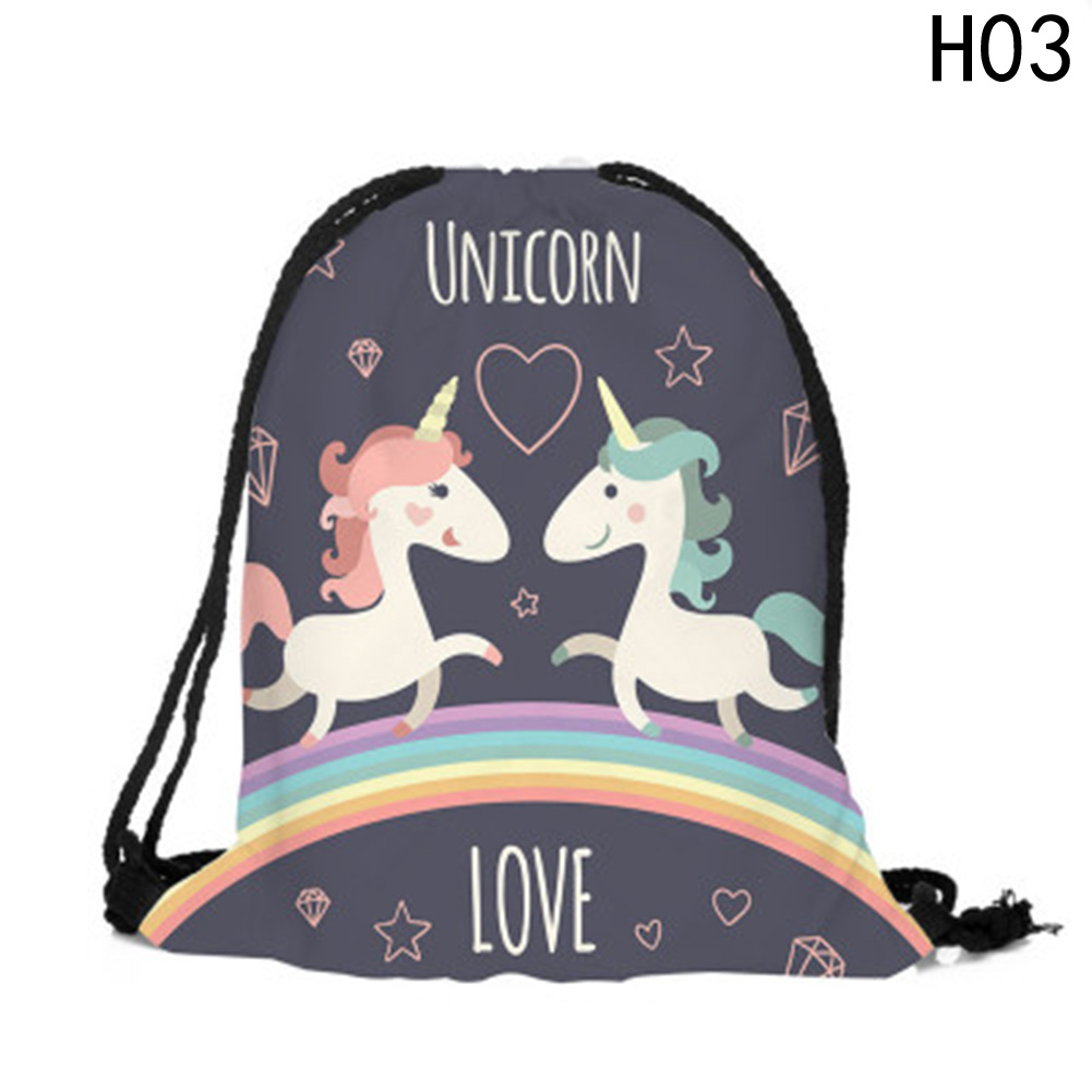 Fashion Multicolor Portable Cartoon Unicorn Shoes Bag Sport Storage Pouch Drawstring Dust Bags Non-woven Beach Travel Backpacks