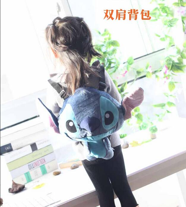 Candice guo! super cute plush toy classic big head stitch doll backpack kids schoolbag bag creative birthday Christmas gift 1pc candice guo super q cartoon chubby hamster squirrel plush toy doll backpack shoulder bag birthday gift 1pc